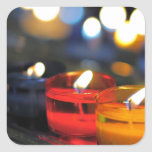 Three colours of candles square stickers