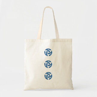 Three connected three way hearts (blue color) budget tote bag