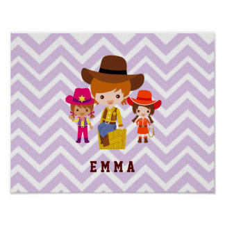 Three Cowgirls Set on Chevron Background Poster