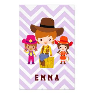 Three Cowgirls Set on Chevron Background Stationery Paper