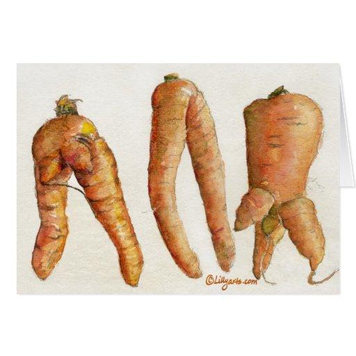Three Crazy Carrots Watercolor Card