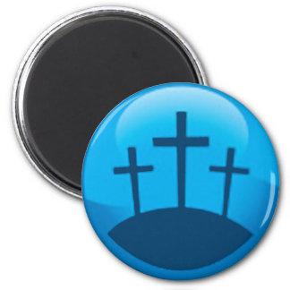 three crosses 6 cm round magnet