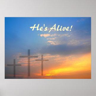 Three Crosses and Sunrise Poster