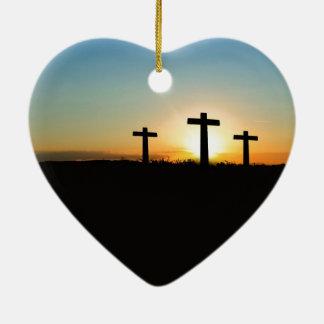 Three crosses ceramic heart decoration
