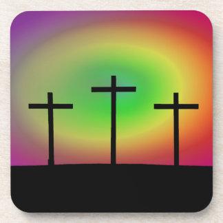 Three crosses glow coaster
