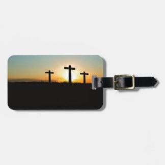 Three crosses luggage tag