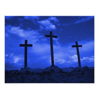 Three Crosses of Christ resurrection poster art Photographic Print
