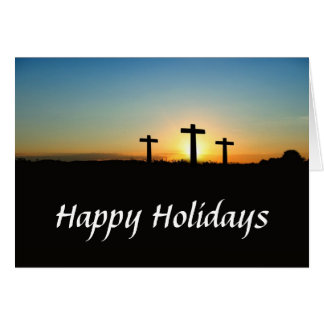 Three Crosses on a Hill Holiday Card