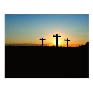 Three crosses postcard