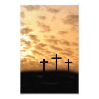 Three Crosses With a Sunset Easter Stationary Stationery
