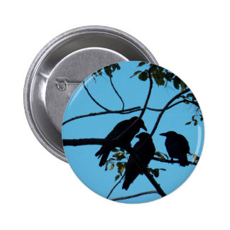 Three Crows In a Tree 6 Cm Round Badge