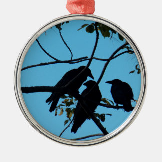 Three Crows In a Tree Silver-Colored Round Decoration