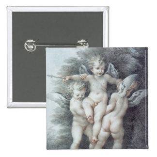 Three Cupids 15 Cm Square Badge