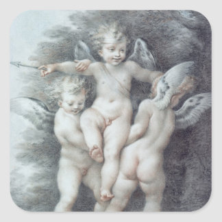 Three Cupids Square Sticker