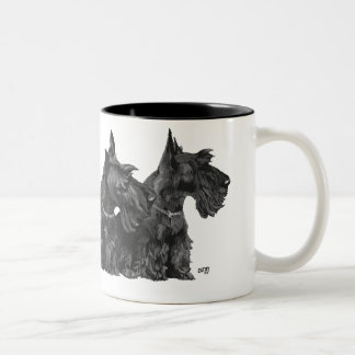 Three Curious Scotties and a Westie Coffee Mugs