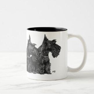 Three Curious Scotties and a Westie Coffee Mugs
