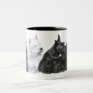 Three Curious Scotties and a Westie Two-Tone Coffee Mug