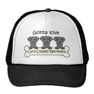 Three Curly-Coated Retrievers Cap