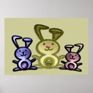 Three Cute Bunnies Poster