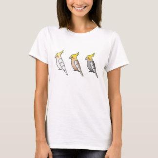 Three Cute Cartoon Cockatiel Parrot Birds T-Shirt