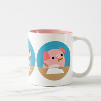 Three Cute Cartoon Piglets at Study Mug