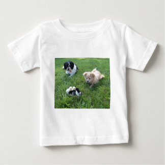 Three cute dogs in grass baby T-Shirt