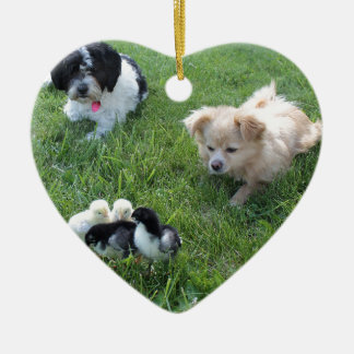Three cute dogs in grass ceramic heart decoration