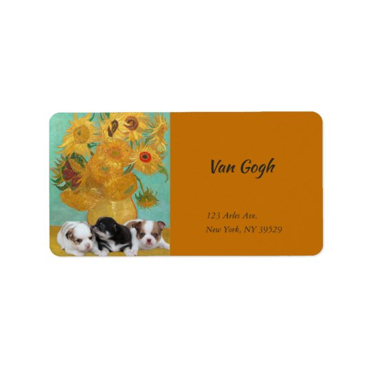 Three Cute Dogs with Van Gogh's Sunflowers Label
