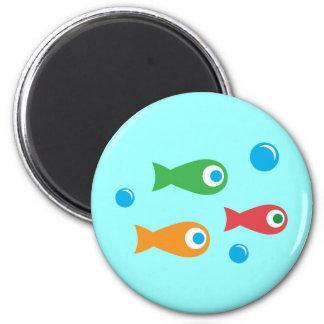 Three Cute Fish 6 Cm Round Magnet