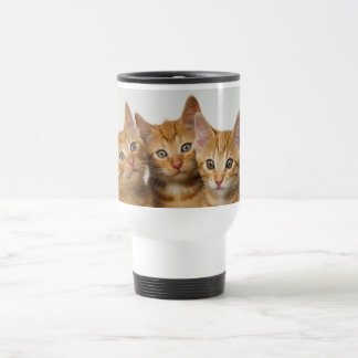 Three cute ginger kittens side by side travel mug