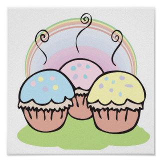 three cute little cupcakes poster