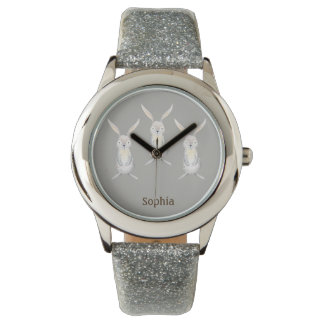 Three Cute Rabbits on Silver Personalized Watch