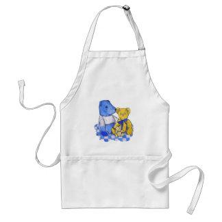 Three cute teddy bears blue & lemon still life art standard apron