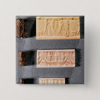 Three cylinder seals with impressions, 15 cm square badge