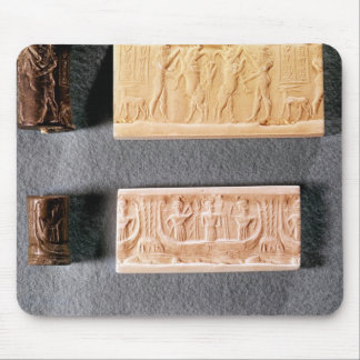 Three cylinder seals with impressions, mouse mat