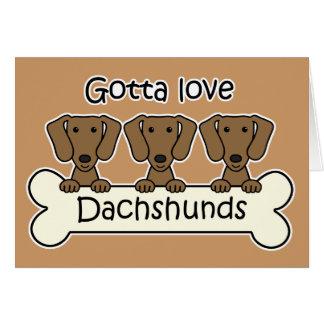 Three Dachshunds Card