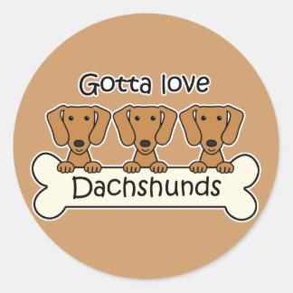 Three Dachshunds Classic Round Sticker