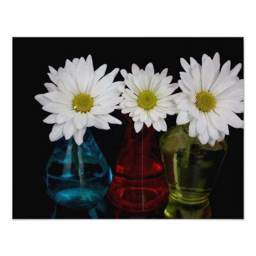 Three Daisies In Cute Jars Photo Print