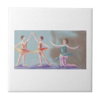 Three Dancers Art Small Square Tile