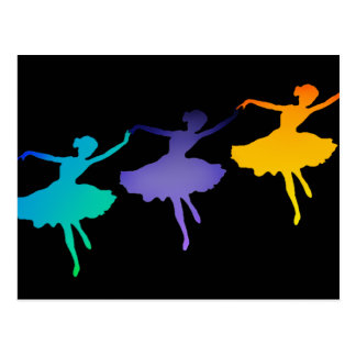 Three Dancers on Black Postcard