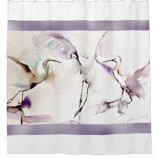 """Three Dancing Cranes"" Watercolor Shower Curtain"