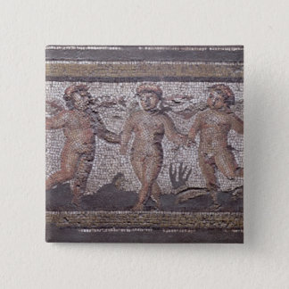 Three dancing putti accompanied by one playing the 15 cm square badge