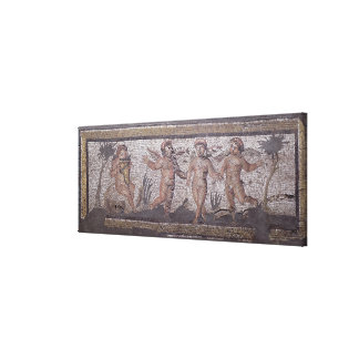 Three dancing putti accompanied by one playing the stretched canvas prints