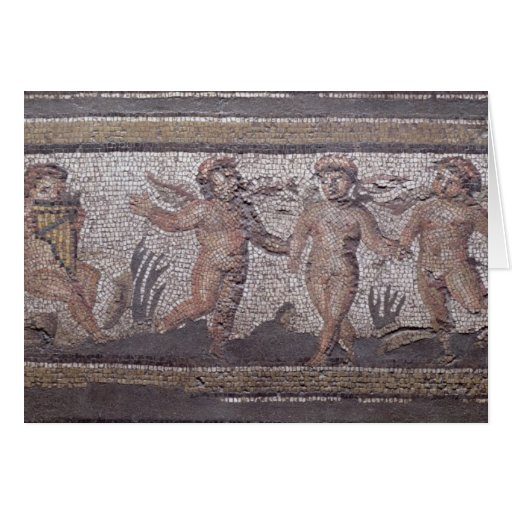 Three dancing putti accompanied by one playing the greeting cards