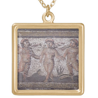Three dancing putti accompanied by one playing the gold plated necklace