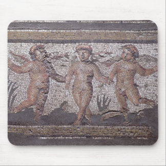 Three dancing putti accompanied by one playing the mouse mat