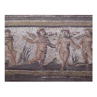 Three dancing putti accompanied by one playing the postcard
