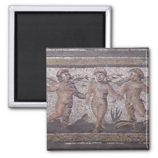 Three dancing putti accompanied by one playing the square magnet