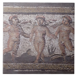 Three dancing putti accompanied by one playing the large square tile