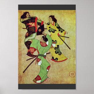 Three Dancing Samurai By Katsushige Iwasa (Best Qu Poster